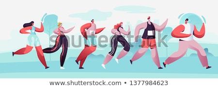 женщины иллюстрация спорт силуэта запустить молодые Сток-фото © bokica