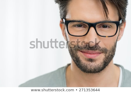 primo · piano · uomo · indossare · occhiali · bell'uomo · blu - foto d'archivio © feedough