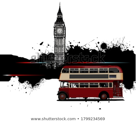 Stock photo: Grunge Banner With London And Bus Images Vector Illustration