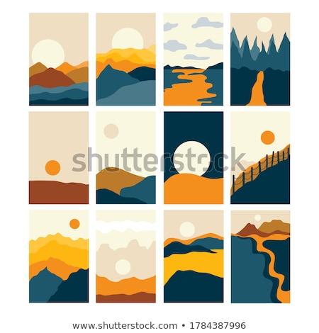 pittoresco · panorama · stilizzato · illustrazione · panorama · senza · soluzione · di · continuità - foto d'archivio © tracer
