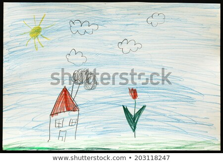White house with red roof, chimney in clouds. Background sun shines brightly and drizzle Stock photo © cherezoff