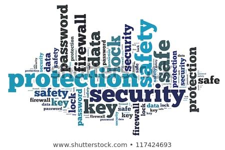 Güvenlik duvarı kelime bulutu teknoloji iletişim kilitlemek veri Stok fotoğraf © tang90246