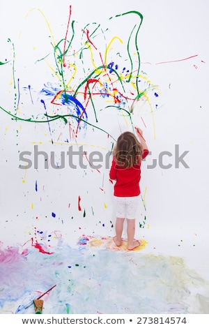 meisje · verf · muur · kleuren · jonge · vrouw · permanente - stockfoto © ozgur