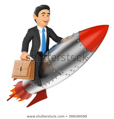 3d man équitation fusée blanche côté angle Photo stock © nithin_abraham