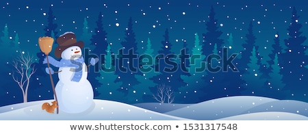 illustration of a christmas snowman scene with trees covered in stock photo © netkov1