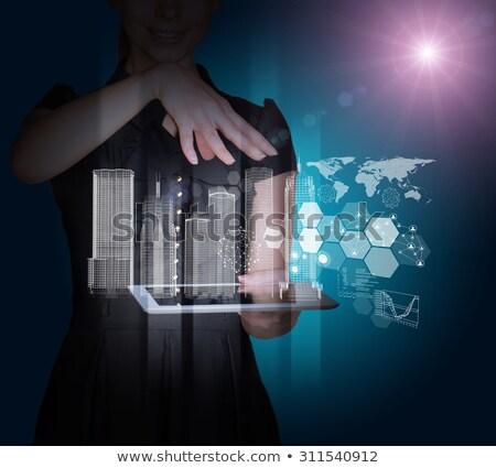 tablet · wereldkaart · 3D · abstract · Blauw · kaart - stockfoto © cherezoff