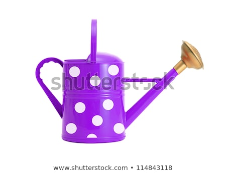 violet polka dot watering can isolated on white Stock photo © tetkoren