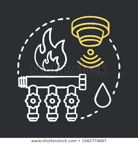 house fire alarm icon drawn in chalk stock photo © rastudio