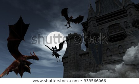 two red dragons attacking the castle at night stock photo © ankarb