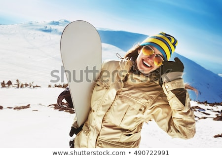 Snowboarding belo jovem menina feliz snowboard isolado Foto stock © orensila