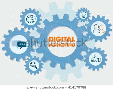 Digital Marketing And Symbols In Grunge Flat Design Gears Infogr Foto stock © marinini