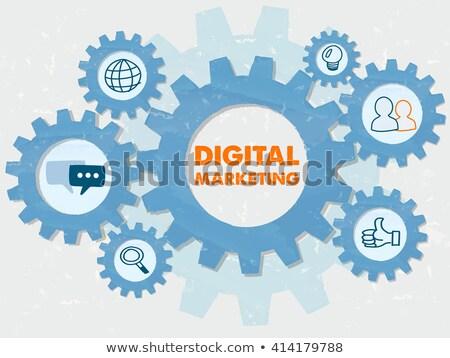 Digital Marketing And Symbols In Grunge Flat Design Gears Infogr Stockfoto © marinini