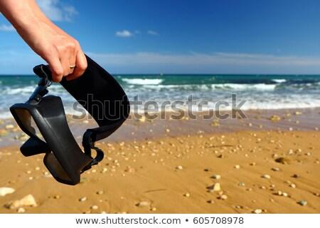Snorkeling wyposażenie plaży morze Śródziemne morza Francja Zdjęcia stock © phbcz