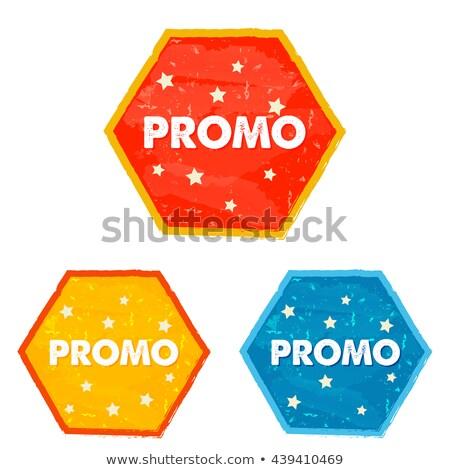 Promo And Stars Grunge Flat Design Hexagons Labels Stockfoto © marinini