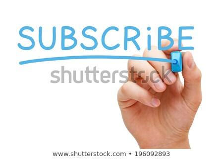 Blogging bleu marqueur main écrit transparent Photo stock © ivelin