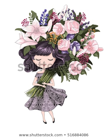 Foto stock: Pequeno · temporadas · meninas · primavera · criança · neve