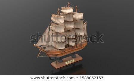 Stok fotoğraf: Gemi · tekne · kahverengi · 3d · render · yalıtılmış · beyaz