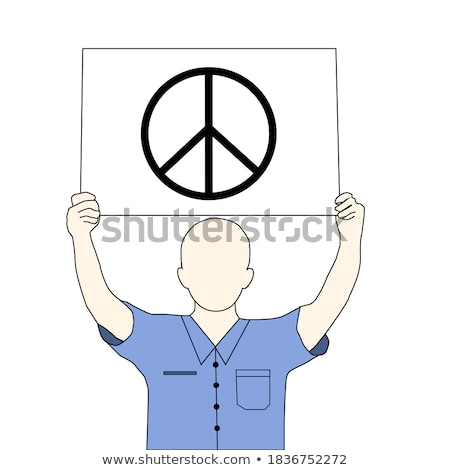 man with a peace symbol in a piece of paper Stock photo © nito