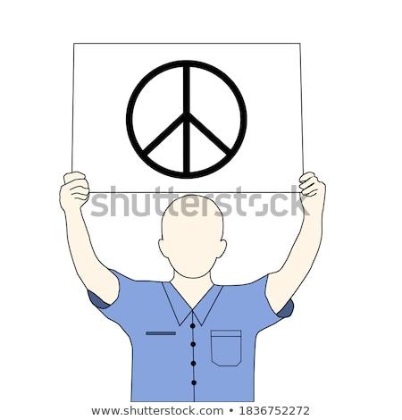 homme · paix · symbole · pièce · papier - photo stock © nito
