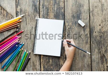 ребенка · ноутбук · карандашом · большой · студент · образование - Сток-фото © lovleah