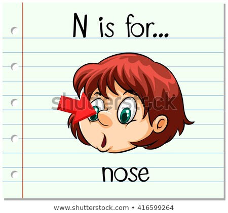 Flashcard letter N is for nose Stock photo © bluering