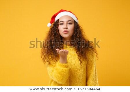Nő kalap küldés csók vidám szexi Stock fotó © Giulio_Fornasar