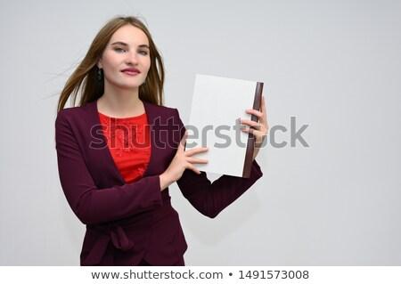 Morena mulher terno sessão voador cabelos longos Foto stock © deandrobot