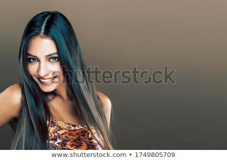 Elegant fashion beautiful brunette woman portrait in white fur c Stock photo © Victoria_Andreas