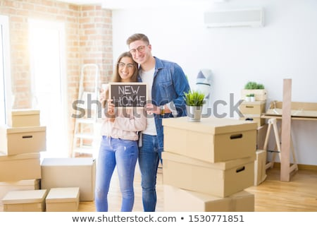 Portrait Happy Smiling Couple in love, beautiful couple  in moun stock photo © Yatsenko