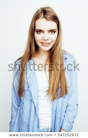 young pretty stylish hipster girl posing emotional isolated on white background happy smiling cool s stock photo © iordani