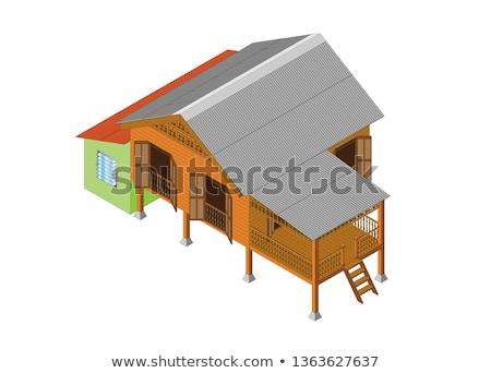 bois · chalet · 3D · design · illustration · maison - photo stock © bluering