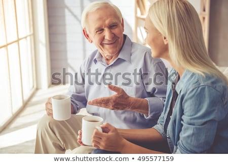 gelukkig · senior · man · drinken · thee · koffie - stockfoto © dolgachov