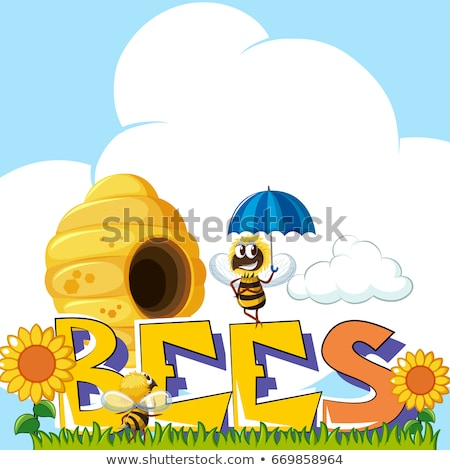 Word bees and bee flying around beehive in background Stock photo © bluering