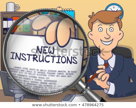 New Instructions through Magnifying Glass. Doodle Style. Stock photo © tashatuvango
