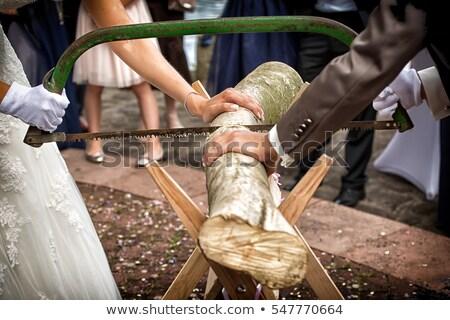 Happy couple playing on tree trunk Stock photo © wavebreak_media