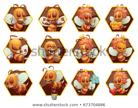 Sticker design for bee in different actions Stock photo © bluering
