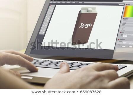 Laptop scherm pakket ontwerp moderne werkplek Stockfoto © tashatuvango