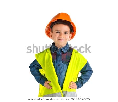 мальчика строителя строительство ребенка весело кирпичных Сток-фото © IS2