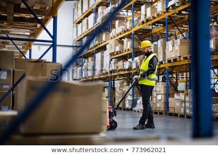 işçiler · dağıtım · depo · bilgisayar · kadın · kutu - stok fotoğraf © is2