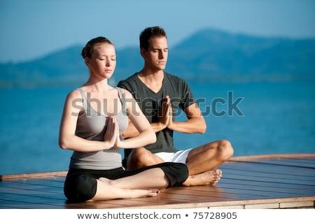 nő · jóga · égbolt · kezek · nők · háttér - stock fotó © is2