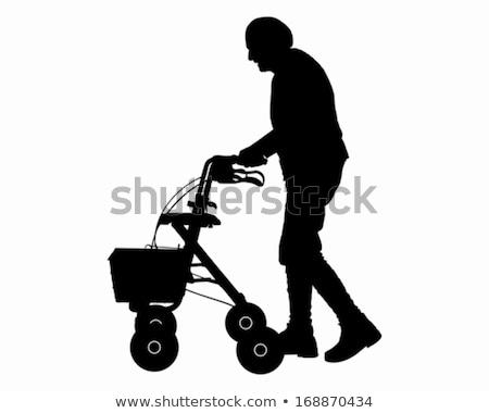 Elderly Woman with Walking Frame Illustration Stock photo © robuart
