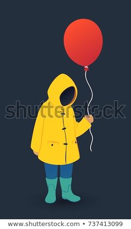 twee · Rood · ballonnen · vorm · hart · zonsondergang - stockfoto © is2