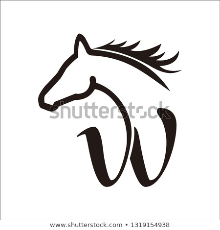 Running horse icon black silhouette abstract isolated on a white Stock photo © NikoDzhi