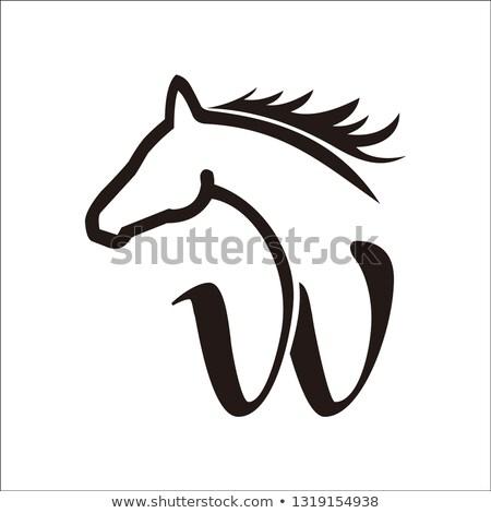 を実行して 馬 アイコン 黒 シルエット 抽象的な ストックフォト © NikoDzhi