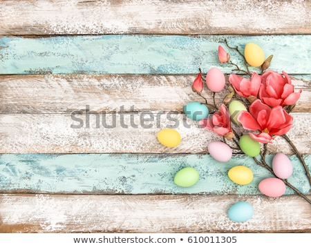 Easter decoration on a rustic background with a magnolia Stock photo © Zerbor