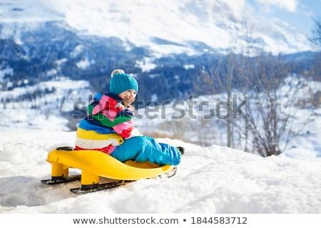 Młoda dziewczyna sanki śniegu dziewczyna spaceru Zdjęcia stock © IS2