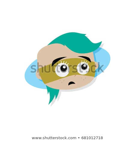 adorable and amazing woman cartoon superhero head in classic expression stock photo © vector1st