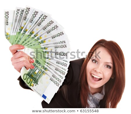 Girl looking at piles of money Stock photo © IS2