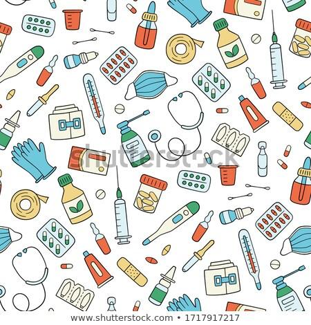Hólyag végtelen minta orvosi tabletta medikus gyógyszer Stock fotó © popaukropa