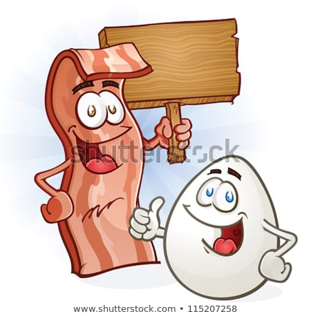 Egg Cartoon Mascot Character Holding A Blank Sign Stock photo © hittoon